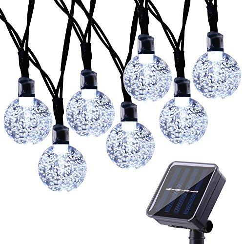 Qedertek Solar Lichterkette Außen mit 30 LED Kugel Weiß 6m 8 Modi Weihnachtsbeleuchtung für Weihnachten Garten Terrasse Hof Haus Party