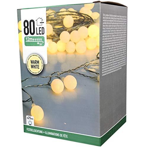 Party Lichterkette warmweiß 15m mit 80 LED Kugel Strombetrieben IP44 für Balkon Terrasse Biergarten oder Party Keller 80LED WW