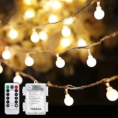 Tobbiheim 50 LED Kugeln Lichterkette Batteriebetrieben 7 Meter Stimmungslichter IP68 Wasserdicht Außenbeleuchtung und Innenbeleuchtung Sternlicht für Weihnachten Hochzeit Party Ferien - Warmweiß