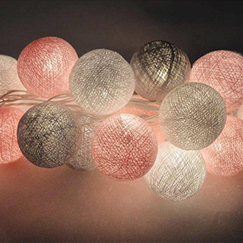 Tomasa Lichterkette Kugeln LED Lichterkette 3m 20er Baumwollkugeln BatterieUSBStrom-Betrieben für Party Weihnachten Hochzeit Feier Garten Terrasse Zimmerdekoration