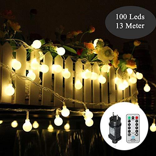 Kugel Lichterkette 100Leds 13m 8Modi Tomshine Outdoor Lichterkette mit SteckerFernbedienungIP44 WasserdichtTiming-FunktionDimmbarStromversorgung für Party Garten Hochzeit Ferien