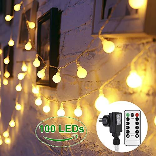 Lichterkette 100 LED GREEMPIRE Warmweiß Globe Lichterkette 135M mit EU Stecker Lichterkette Kugel mit Fernbedienung Innen Außen IP65 Wasserdicht für Weihnachten Party Hochzeit Energieklasse A