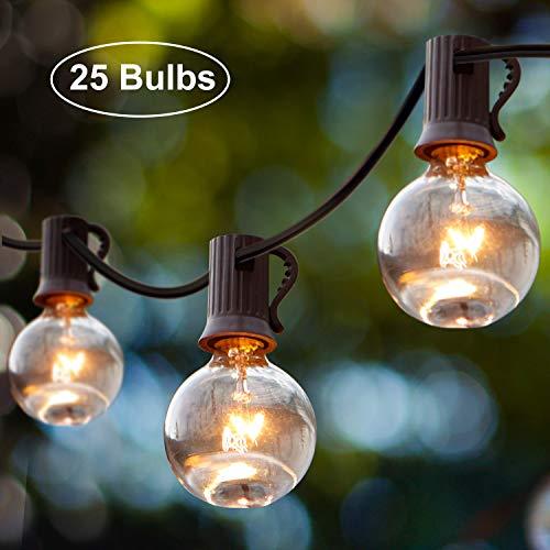 Lichterkette Außen Wasserdicht iKALULA 25er Lichter Kette 25 Fuß76 Meter G40 Deko Schnur Lichter Innenbeleuchtung Außenbeleuchtung Partylichterkette für Zuhause Weihnachten Indoor Gärten - Warmweiß