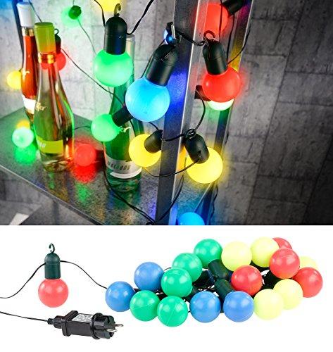 Lunartec Party Lichterkette 4-farbige LED-Lichterkette mit 20 Lämpchen 12 Watt 475 cm IP44 Partylichterketten
