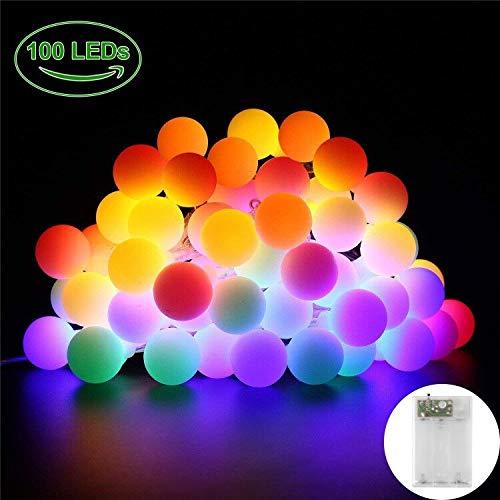 LED Lichterkette Außen 10M 100 LED Lichterkette mit Batterie USB Lichterketten 2 in 1 Bunt Mini Kugel Lichterkette Weihnachten Deko Wasserschutz IP65 Partylichterkette Glühbirnen Innen für Party etc