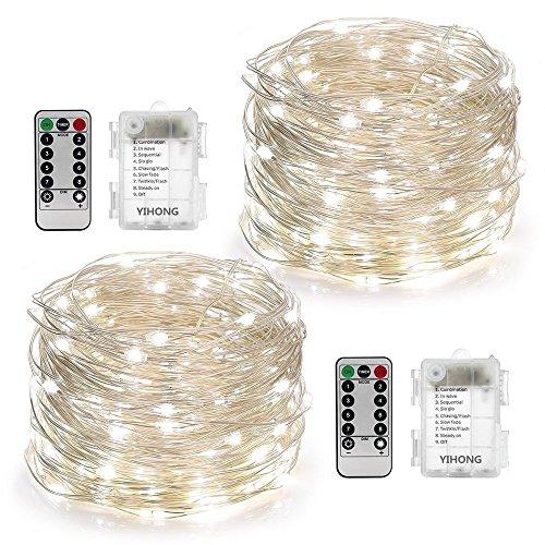 YiHong 2 Stück Lichterkette Batterie 5M 50er LED Lichterkette Außen mit Fernbedienung und Timer für Party Garten Weihnachten Halloween Hochzeit Beleuchtung Dekoration