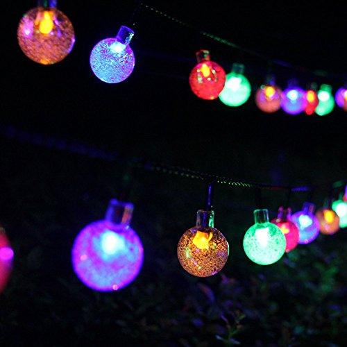 Samoleus 6M 30 LEDS Solar Lichterkette Beleuchtung Kugel Aussen Weiß Außenlichterkette Christmas Lights Wasserdicht für Party Weihnachten Außen Hausdekoration Farbe