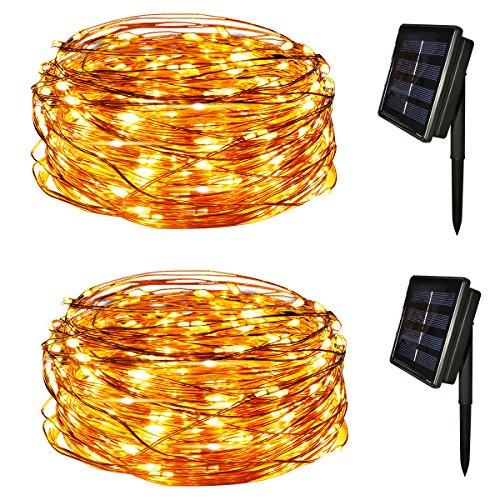 Yasolote Solar Lichterkette Außen LED Außenlichterkette Kupferdraht 20m 200 LED 8 Modi Beleuchtung für Garten Balkon Pavillon Terrasse Hof Zaun Hochzeit Fest Deko Warmweiß 2 Stück
