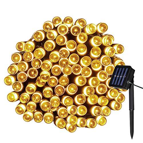 Yasolote Solar Lichterkette Außen Wasserdicht LED Außenlichterkette 10m 100 LED 8 Modi Beleuchtung für Haus Garten Balkon Pavillon Terrasse Rasen Hof Zaun Hochzeit Party Deko Warmweiß