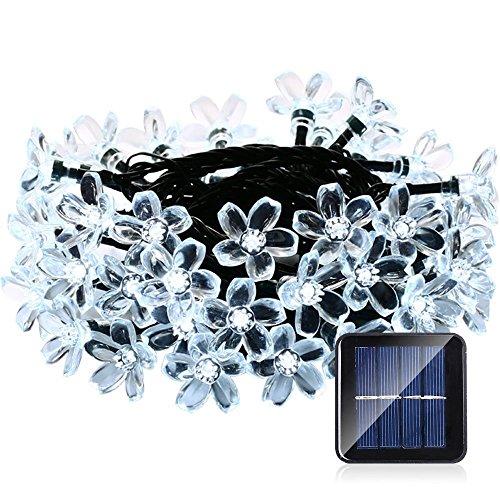 lederTEK Solar Lichterkette 64m 50 LED Pfirsichblüte Außenlichterkette Wasserdicht mit Lichtsensor Weihnachtsbeleuchtung Beleuchtung für Haushalt Außen Garten Hochzeit Weihnachten weiß
