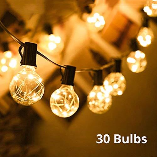 Lichterkette außen G40 Warmweiß Globus Schnur Licht Party Lichterkette 30 Bulbs 10M Deko Lampe Lichtschnur IP44 Wasserdicht AußenInnen für Garten HochzeitGrill Weihnachten BiergartenFeier Fest