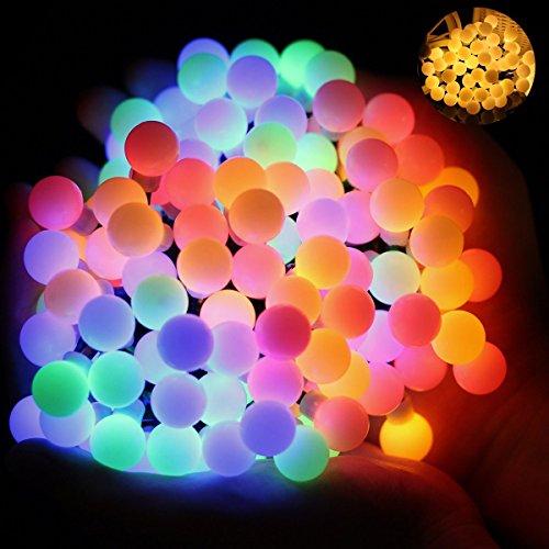Wasserdicht Kugel Lichterkette 60 LED Lichterkette Bunt 8 Lichtermodi mit Merkfunktion Innen und Außen Deko Glühbirne Weihnacht Sbeleuchtung für Hochzeit Weihnachtsbaum