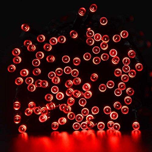 lederTEK Solar Lichterkette LED Außen 22m 200LED 8 Modi Außenlichterkette Wasserdicht mit Lichtsensor Weihnachtsbeleuchtung Beleuchtung Deko für Außen InnenWeihnachten Party Festen Rot