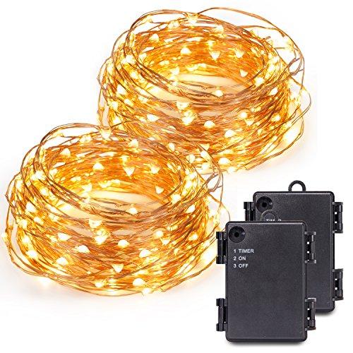Kohree 120 Micro LED Lichterkette Batteriebetrieben String Lights mit Timer 12M40ft 2 Stück