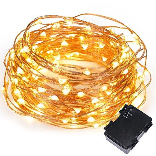 Kohree 3M 60 LEDs Kupferdraht LED Wasserdichte Lichterkette Kupfer Batteriebetrieben mit Timer für Innen Außen Party Hochzeit Weihnachten Warmweiß