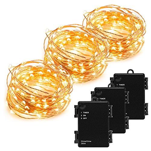 Kohree Kupferdraht Lichterkette 3 Stück 10m100 LED Schnur-Licht batteriebetrieben mit Timer Indoor&Outdoor für Festival warmes Weiß