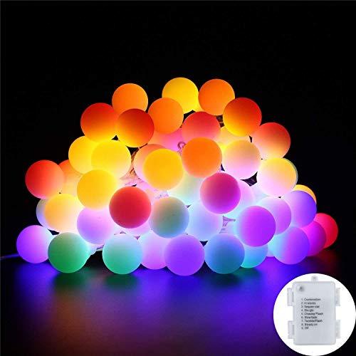 Lichterkette bunt B-right 40 LEDs Globe Lichterkette rgb Lichterkette batteriebetrieben Innen- und Außen Lichterkette Glühbirne Weihnachtsbeleuchtung für Weihnachten Hochzeit Party Weihnachtsbaum