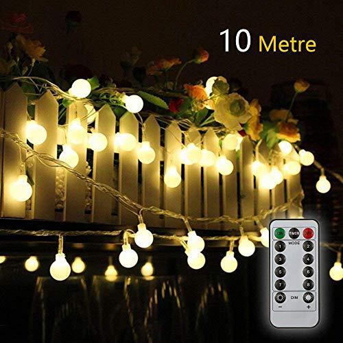 Titiyogo Lichterkette batteriebetrieben 10 m 80 LEDs wasserdicht für Innen- und Außenbereich batteriebetrieben für Partys Garten Terrasse Hochzeit Dekoration 8 Modi Fernbedienung