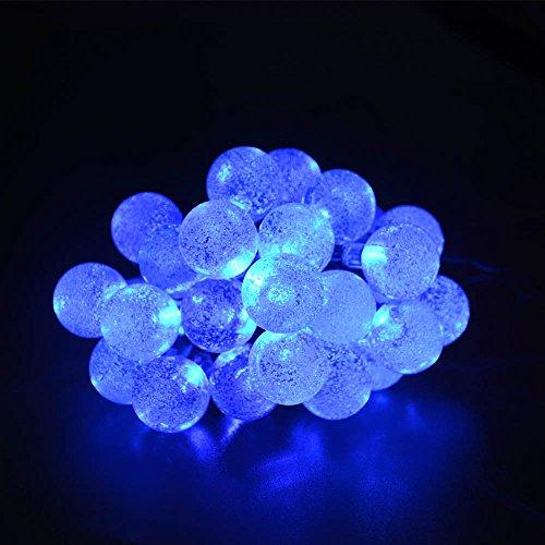 lederTEK Solar Lichterkette 6m 30 LED Kugel Außenlichterkette Wasserdicht mit Lichtsensor Weihnachtsbeleuchtung Beleuchtung für Haushalt Außen Garten Hochzeit Weihnachtenblau