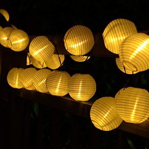 BAOANT Solar Lichterkette Lampion Außen 6 Meter 30 LED Laternen 2 Lichtarten Modi Wasserdicht mit Lichtsensor Beleuchtung Deko für Garten Terrasse Hof Weihnachten Hochzeit Party Fest Warmweiß