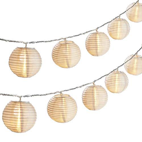 Gresonic 20er LED Lichterkette LampionLaternen Deko für Garten Weihnachten Party Hochzeit Innen und Außen mit dem Stecker Warmweiss Solar