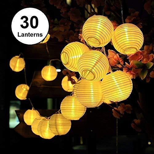 Lichterkette Außen Qomolo Lichterkette Lampions 30er LED Wasserdicht Laterne Außen Dekoration für Garten Weihnachten Hochzeit Party