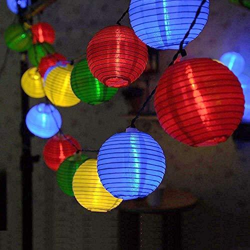 Lichterkette Bunt Lampions Innen Außen - String Lights Outdoor20 LEDs 5m Laterne Wasserdichte Batteriebetriebene Gartenbeleuchtung LED Lichterkette Dekoration für Garten Weihnachten Party Hochzeit