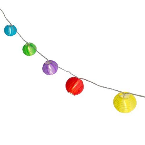 Plaights Lampion Lichterkette mit 20 LED's in bunt  Sommerlichterkette für draußen mit Timer Funktion  perfekte Dekoration für Garten Terrasse Balkon Party und Feiern
