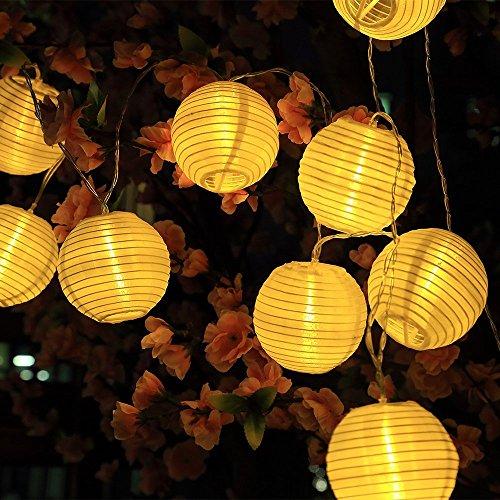 Sunjas Solar Lichterkette 20 LEDs 48 Meter Lampions Laterne Lichterkette Garten Innen- und Außenbereich warmweiß blau bunt für Party Weihnachten Outdoor 30 LEDs warmweiß