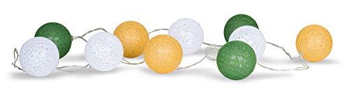 levandeo 10er Lichterkette LED Kugeln Lampions Baumwolle Grün Gelb Weiß Cotton Girlande Deko Cottonballs