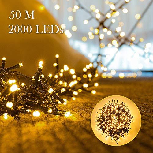 2000er LEDs Lichterkette 50M LED Weihnachtsbeleuchtung Innen und Außen Kupferdraht mit EU Stecker 8 Modi Wasserdicht Memoryfunktion für Weihnachten Garten Party Geburtstag HochzeitWarmweiß