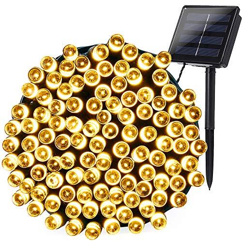 Qedertek Solar Lichterkette Außen 22m 200 LED Weihnachtsbaum Lichterketten Warmweiß 8 Modi Wasserdichte Solar Beleuchtung mit Lichtsensor für Weihnachten Party Haus Hochzeit Fest Deko