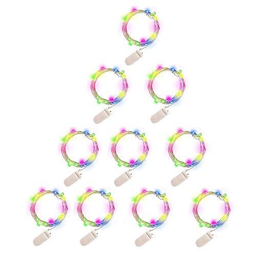 CGBOOM 1M 10 LEDs Lichterkette 10 Stück Bunte Kupferdraht String Light Batteriebetriebene Lichterkette für Weihnachtsfeier Garten Hochzeit Baum Terrasse