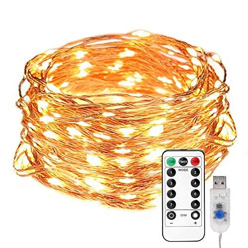 LE Lichterkette draußen LED Kupferdrahtlichterkette 10M 100 LEDs mit USB und Fernbedienung 8 Lichtmodi Wasserdicht IP65 Warmweiß ideal für Weihnachtsdeko Innen Party Weihnachten Dekolicht usw
