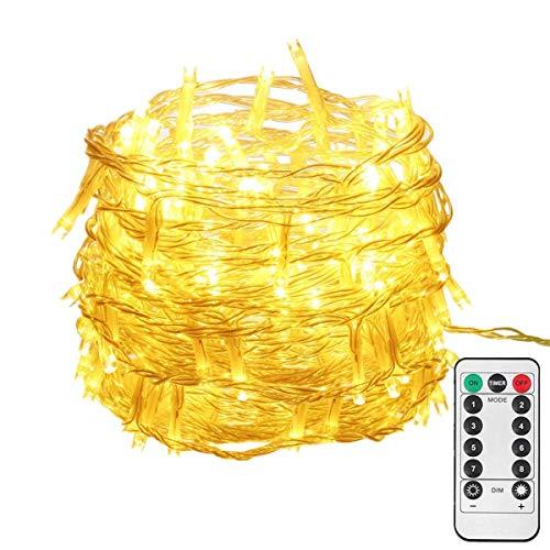 OxyLED LED Lichterkette 10M 100LED IP65 Wasserdicht Kupfer Drahtlichterkette mit Fernbedienung und Timer 8 Modi Lichterkette für Garten Hochzeit Party WeihnachtenWarmweiß Energieklasse A