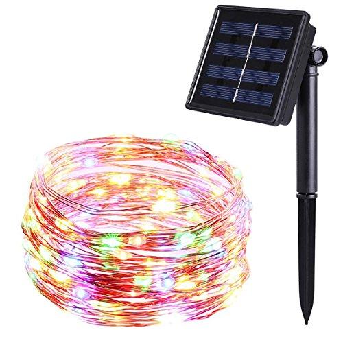 Solar Lichterkette10M 100 LED Solar LichterketteKupferdraht lichterkettenAußenbeleuchtung für GartenHochzeitParty-Bunt