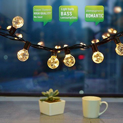 Lichterketten Aussen 10M 30 Birne LED Lichterkette G40 Schnur Lichter Wasserdicht String Licht als Innen Außen Beleuchtung Deko für Weihnachten Hochzeit Garten Party Haus mit Ersatzbirne