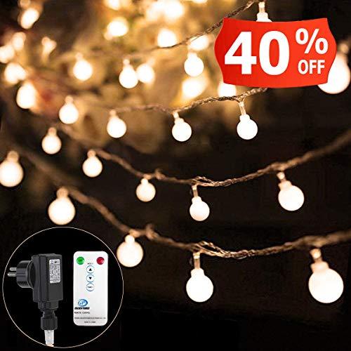 100 LED Lichterkette Außen 33FT10M Strombetrieben und Wasserdicht Garten Lichterkette OutdoorIndoor für Weihnachten Hochzeit Zimmer Party - 8 Modi Fernbedienung Kontroller Warmweiß