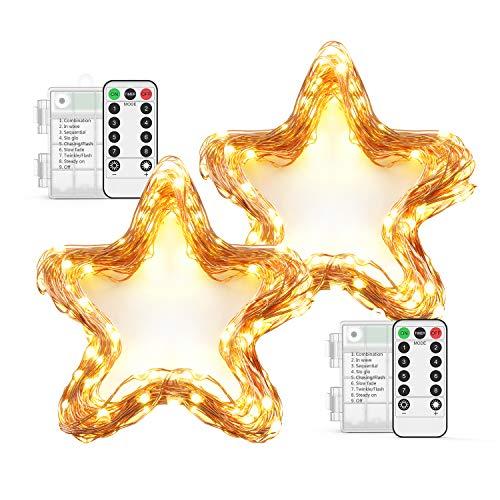 10M 100 LED Lichterkette OxaOxe wasserdichte Lichterkette warmweiß mit Batteriebetrieb Fernbedienung mit 8 Modi Timer Dekoration für Weihnachten Party Garten Balkon usw 2 Pack