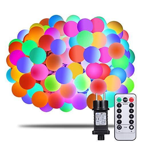 Lichterkette Bunt Afufu 100er LED Kugel Lichterkette 13m InnenAußen mit Fernbedienung RGB erweiterbar Memory-Funktion 8 Modi Deko Glühbirne Party Garten Hochzeit Weihnachtsdeko Bunt