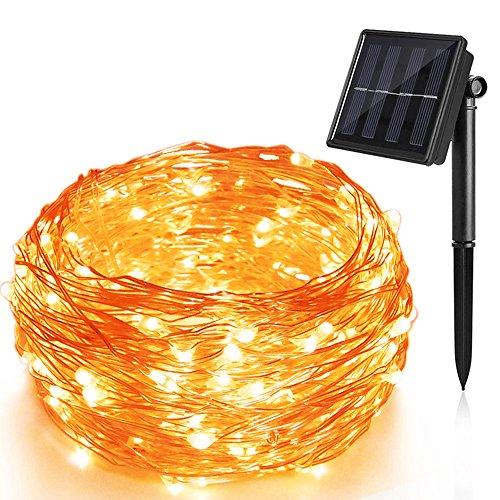 Solar Lichterkette 100 LED 12 Meter solarbetriebene Kupferdraht Lichter Sternenlicht Innen Außen 8 Modi IP65 wasserdicht Sternenlicht für Partys Garten Hochzeiten Aussen Dekoration Warmweiß