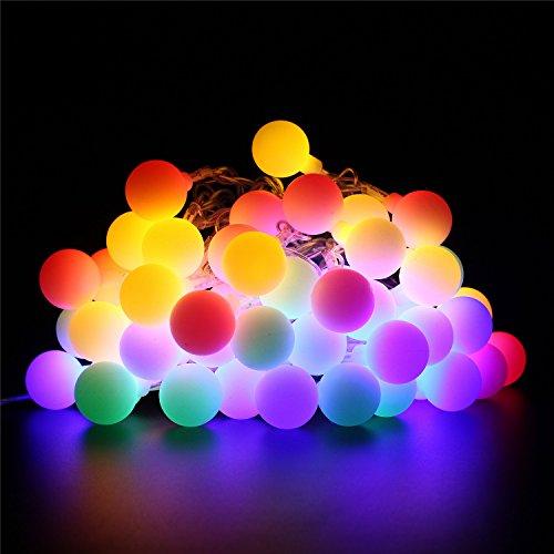 BlueFire LED Lichterkette Außen 95m 50LED Kugel Lichterkette Strombetrieben 8 Modi Fernbedienung Timer Wasserdicht Weihnachtsbeleuchtung für GartenHochzeitWeihnachtenPartyInnen Außen DekoBunt
