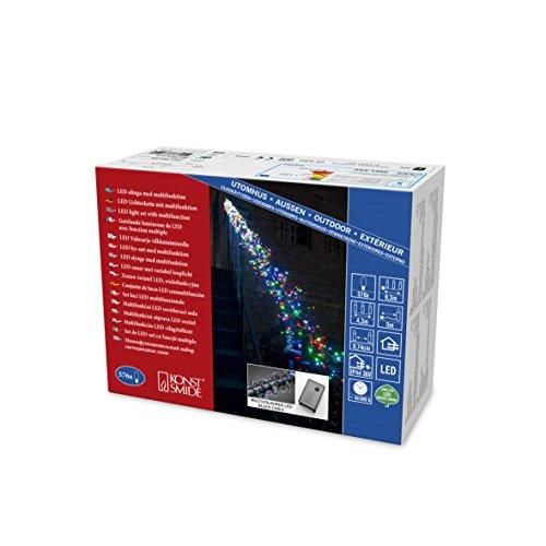 Konstsmide 3861-500 Micro LED BüschellichterketteCluster  für Außen IP44  mit 8 Funktionen Steuergerät und Memoryfunktion  576 bunten Dioden  36V Außentrafoschwarzes Kabel