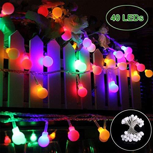 Lichterkette 40 LED GREEMPIRE Bunt Lichterkette 45M batterie Beleuchtung Kugel Partylichterkette Akku Innen- Außen IP65 Wasserdicht für Weihnachtensbaum Party Hochzeit Weihnachtsbeleuchtung