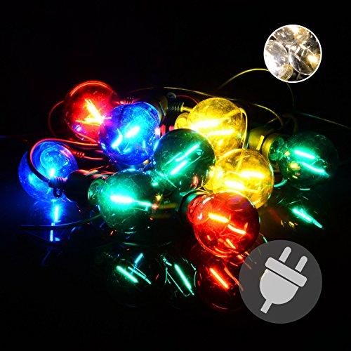 Nipach GmbH LED Partylichterkette Partybeleuchtung Lichterkette für Weihnachten Hochzeit Kindergeburtstag – 10 Glaskugeln mit Trafo – innen außen – bunt