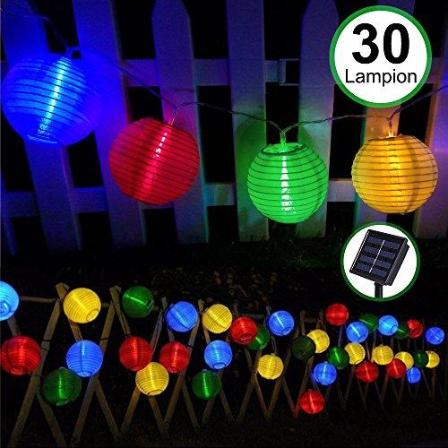 Solar Outdoor Lichterkette 30er 55m Led Lampion Laterne Bunt Lichterkette Außen Solarbetrieben Wasserdicht Dekoration für Garten Terrasse Hof usw