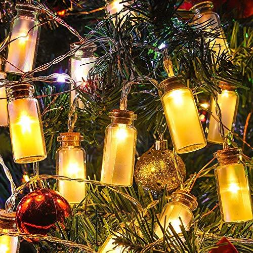Neu - 8 Modi Vintage Glas 20er LED-Lichterketten LED Outdoor Lichterkette WeihnachtsbeleuchtungWarmweißen -- Wasserdicht Batteriefach