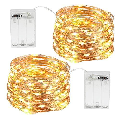 200 LED Lichterkette 20m Wasserdicht Kupferdraht Streifen Licht für Weihnachten Hochzeit Party Garten Außen Innen Dekoration Warmweiß 10mx2