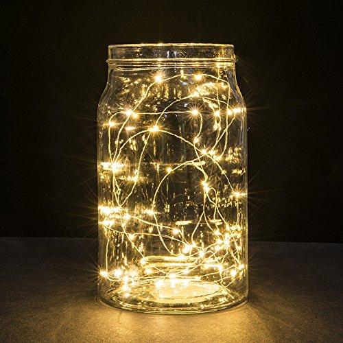 Lichterkette Außen HUIHUI Wasserdicht 2M 20 LEDs Kupferdraht Lichterkette batteriebetrieben für Party Garten Weihnachten Halloween Hochzeit Indoor Outdoor Decor Warmes WeißOne size