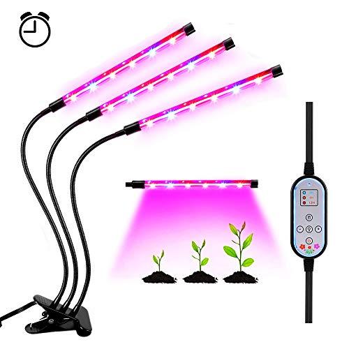 LED Pflanzenlampe mit Zeitschaltuhr 36W 18 LED Pflanzenlicht Dimmbare Pflanzen Lampe Wachsen licht Pflanzenleuchte Wachstumslampe 360°Flexible Pflanzenlichter Automatische Ein-  Ausschalten